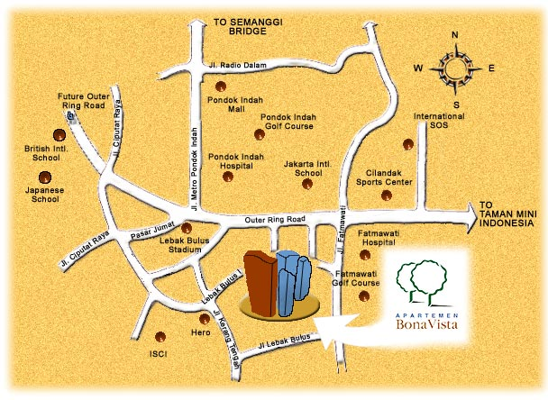 Location Map of Bona Vista Apartments in South Jakarta